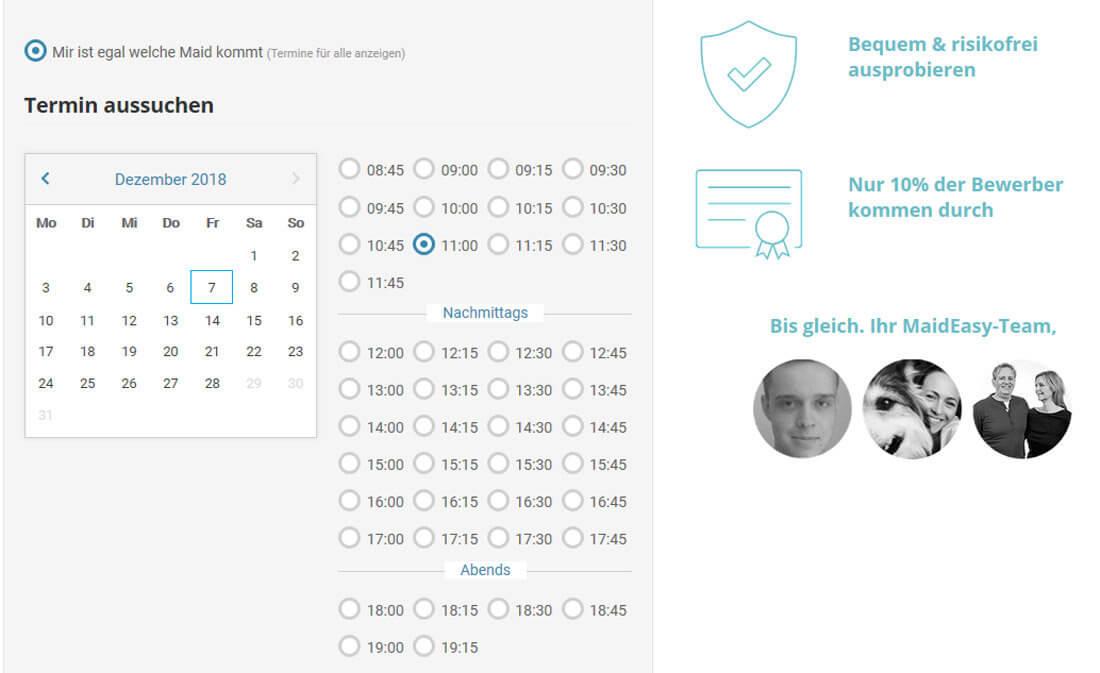 Screenshot vom Buchungsformular mit Termin-Auswahl bei MadeEasychst du online selbst aus.